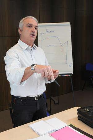 depreciation: Man presenting findings on a flip chart
