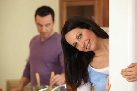 couple cooking Stock Photo - 11135794