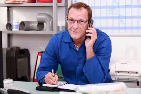 Technician on the phone