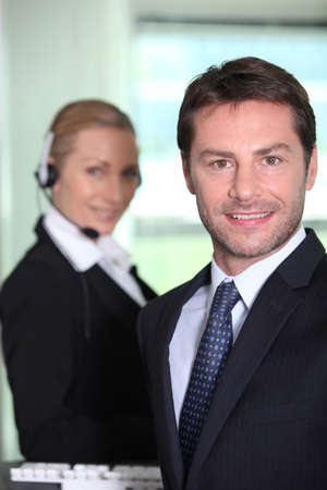 35 40 years: Telesales manager Stock Photo