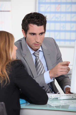 bank manager: Meeting with bank manager Stock Photo