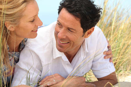 blonde close up: Couple looking into each other Stock Photo
