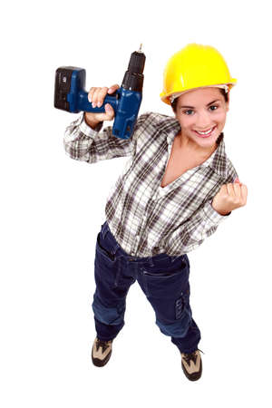 Successful builder holding power drill photo