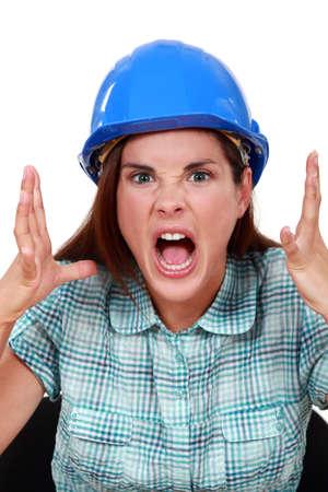enrage: furious craftswoman screaming