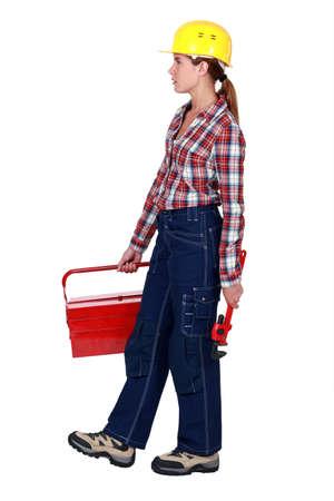 Tradeswoman going to work photo