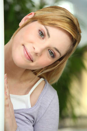 beautiful blonde girl with green eyes: Happy girl Stock Photo