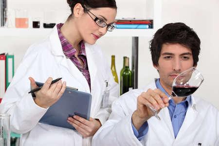 wine testing: Testing wine in a laboratory