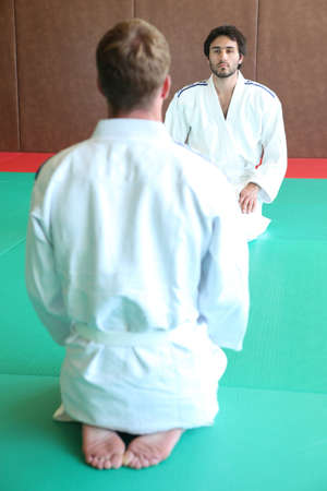 men having a karate training photo