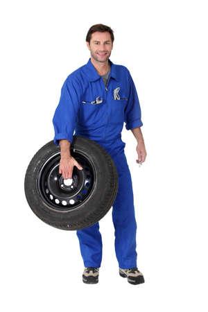 overalls: portrait of a mecanic Stock Photo