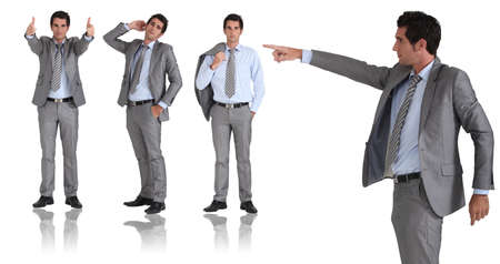 denunciation: man in two-piece grey suit striking different poses Stock Photo