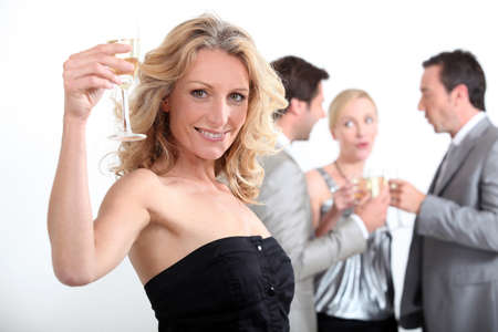 dinner party people: portrait of a woman toasting