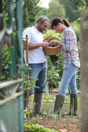 Couple in a garden with boots photo