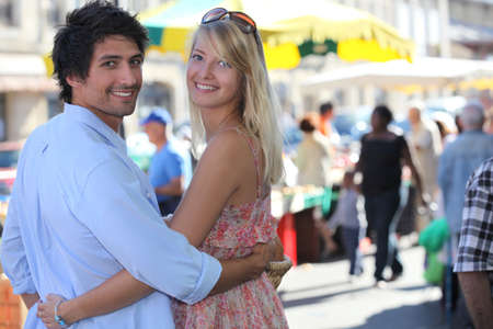 young couple going to the market Stock Photo - 11294386