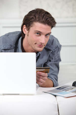 Man shopping online photo