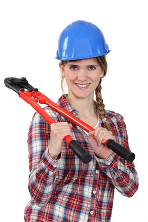 aplomb: Woman with a pair of boltcutters Stock Photo