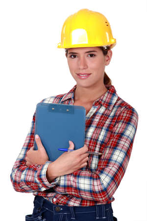 edificio industrial: Mujer ingeniero en industria de la construcci�n
