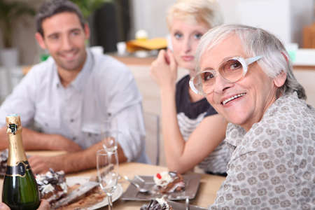 mother in law: Family meal Stock Photo