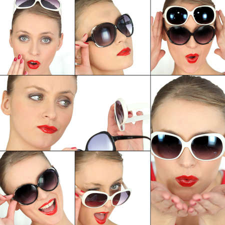 Young woman with pairs of sunglasses collage photo
