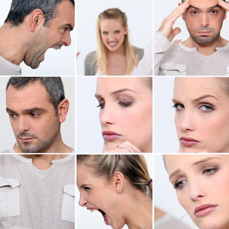 Expressions of faces of a man and a woman Stock Photo - 11316504