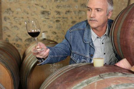 cider: Man tasting wine