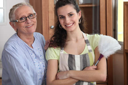 25 years old: Portrait of a grandmother with her granddaughter Stock Photo