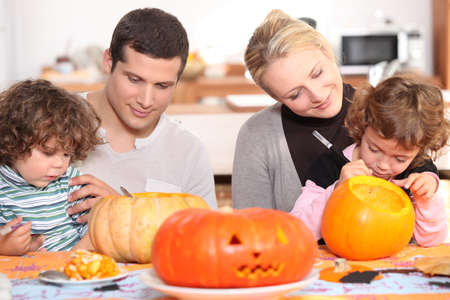 quality time: family preparing Halloween together