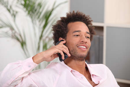 fro: Man talking on his mobile phone