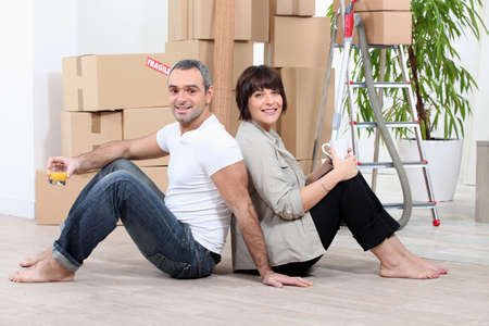 Couple moving house photo