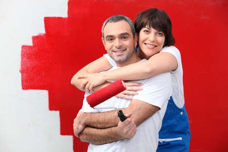 couple painting together Stock Photo - 11382911