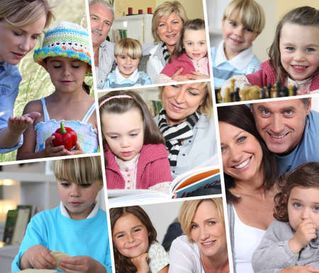 series of pictures depicting family life photo