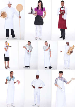 hospitality industry: Collage of occupations Stock Photo