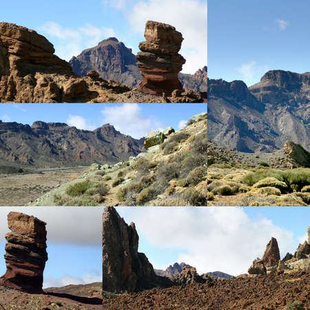 Collage of a dry and rocky landscape photo