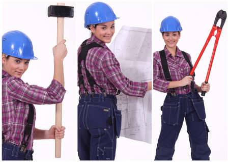 tradeswoman: Collage of a tradeswoman at work