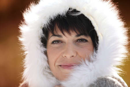 Woman with fluffy hood Stock Photo - 11382596