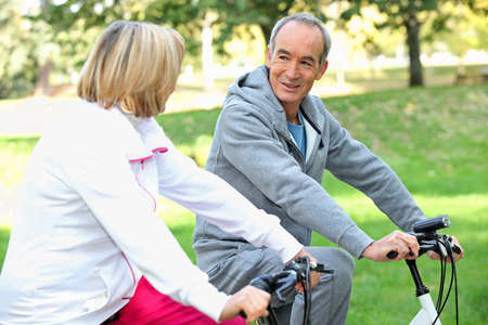 citizens: Senior couple on a bike ride