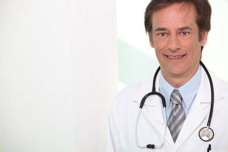 45 49 years: Closeup of a hospital doctor with stethoscope Stock Photo