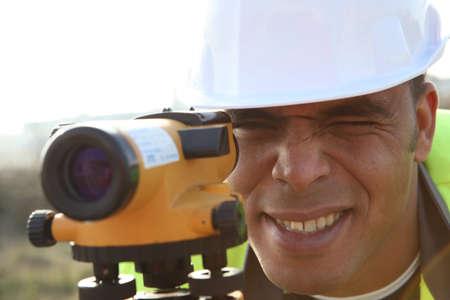elevation meter: surveyor working Stock Photo