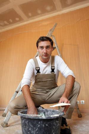 Man mixing plaster Stock Photo - 11391854