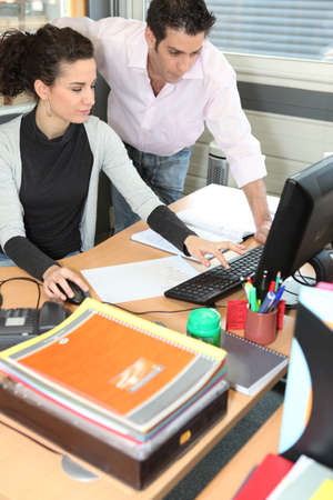 Woman and man in computing training photo