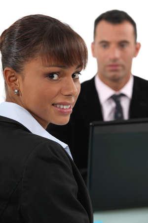 tense: A terrified woman Stock Photo
