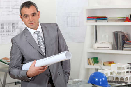 golden ager: executive with plans Stock Photo