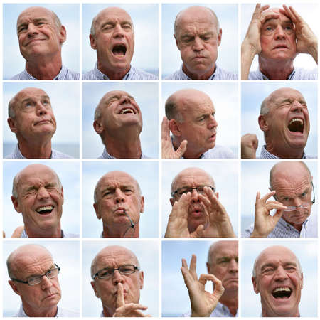 yell: Collage of a man making faces