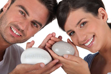 all smiles: couple all smiles with bar of soap