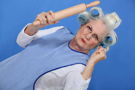 eccentric: Angry old lady with rolling pin