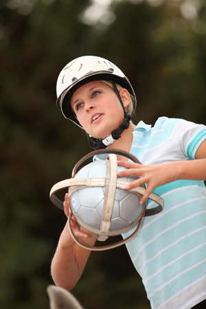 Girl playing Horseball photo