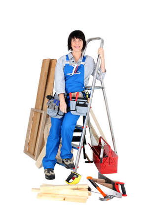 Female construction worker with her tools Stock Photo - 11455738