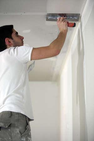 plastering: Plasterer working