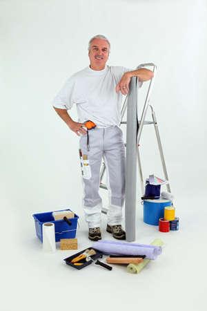 house painter: Handyman stood with step-ladder Stock Photo