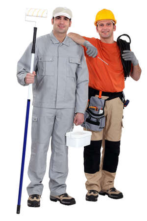 painter and decorator: Painter and electrician standing on white background