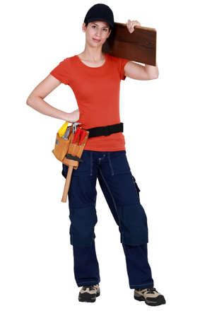 floorboards: Woman with floorboards Stock Photo